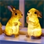 2 illuminated rabbits