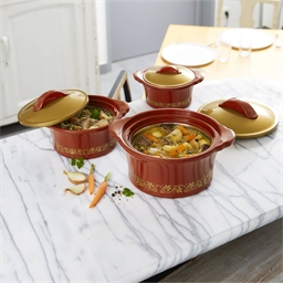 3 insulated dishes with gold borders
