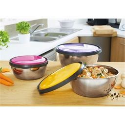 3 stainless steel bowls with coloured lids