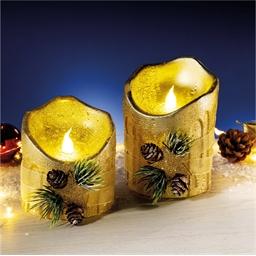 2 golden LED candles