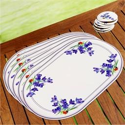 6 crocus table mats + 6 coasters
