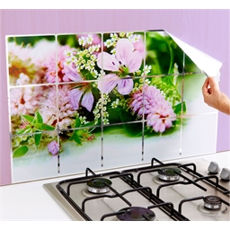 Film de protection mur de cuisine Fleurs