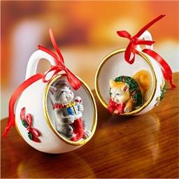 2 tasses décoration chatons Noël