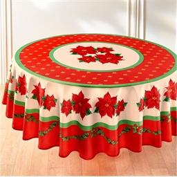 Rood tafelkleed met kerststermotief : Rond of Rechthoekig