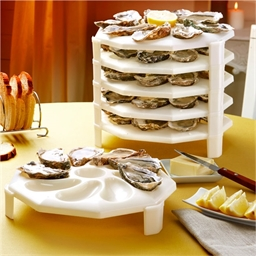 6 stackable oyster plates