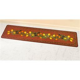 Lemon motif brick red rug