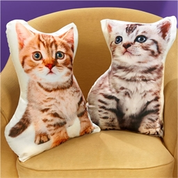 Coussin forme chaton Roux
