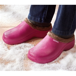 Fur-lined clogs : Green or Fuchsia