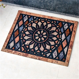 Rose window outdoor mat