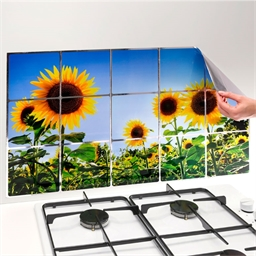 Film de protection mur de cuisine Tournesols