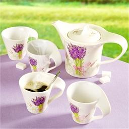 Koffieservies met lavendelmotief