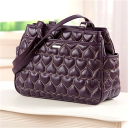 """Heart"" design handbag Plum"