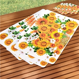 4 sunflower table mats + coasters
