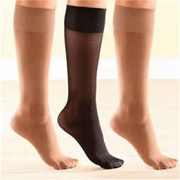 3 pairs light support knee highs Black/natural