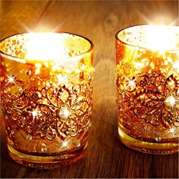 Golden Arabic candle holders