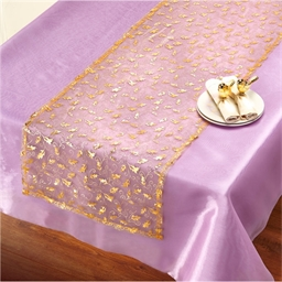 Gold organza table runner