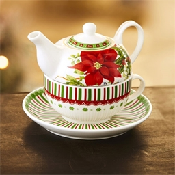 Poinsettia 2 in 1 teapot / cup