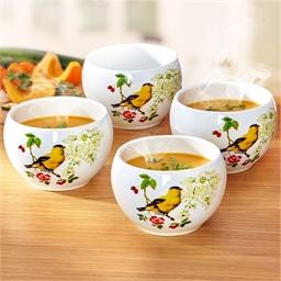 4 bird motif bowls