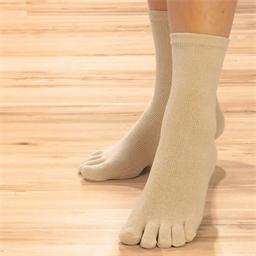 """Chaussettes """"orteils"""" soie beige : 5 paires - Taille unique"""