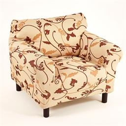 Housse fauteuil élastiquée arabesques marron