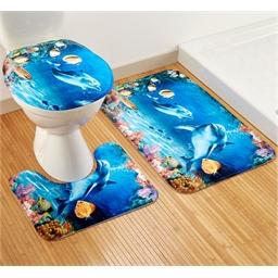 Set van 3 badkamermatjes Dolfijn