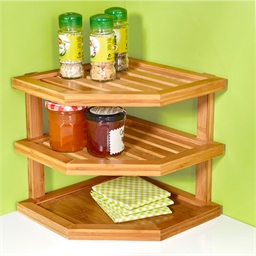 Bamboo corner shelving unit