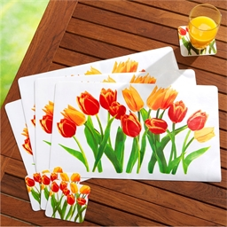 Sets de table + sous-verres tulipes