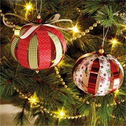Set of 8 paper Christmas baubles to make