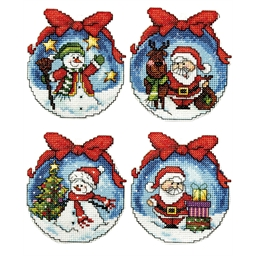 Set of 4 Christmas decorations to embroider