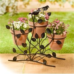 Support 3 pots de fleurs oiseaux