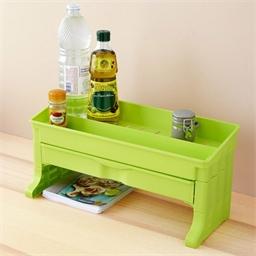 Etagère d'appoint à tiroir : Vert ou Blanc