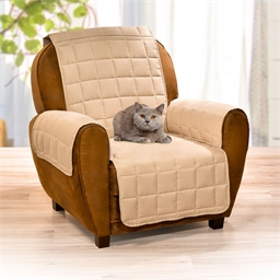 Beige quilted armchair / seater sofa protector Beige quilted