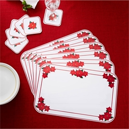 6 sets de table poinsettia +6 sous-verre