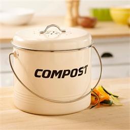 Compostbakje van wit email