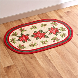 Oval poinsettia rug