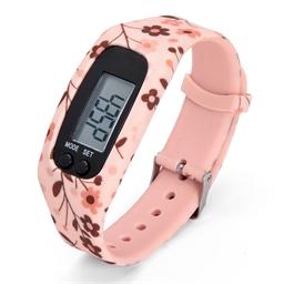 Silicone horloge met stappenteller Zwart, Wit of Bloemen