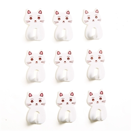 Set of 9 self-adhesive cat hooks