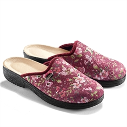 Stretchy pink floral mules - size 3