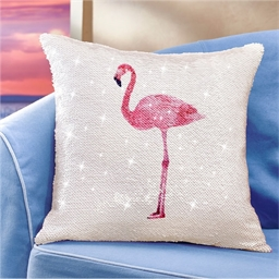 Coussin sequins flamant rose