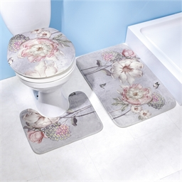 Set van drie badkamermatjes met antieke bloemen