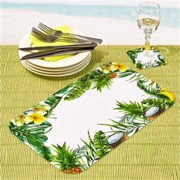 6 tropical table mats + 6 coasters
