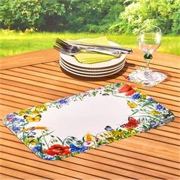 6 Tischsets + 6 Glasuntersetzer Feldblumen