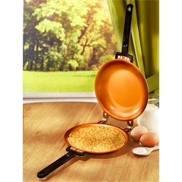 Copper coloured double crepe pan