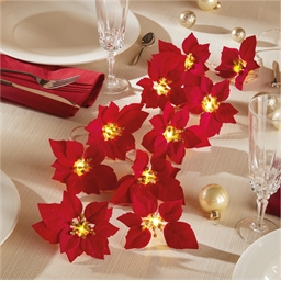 LED poinsettia garland