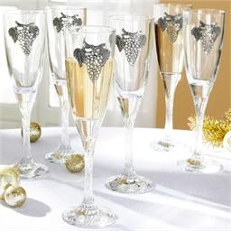 """6 flûtes à champagne """"Grand cru"""""""