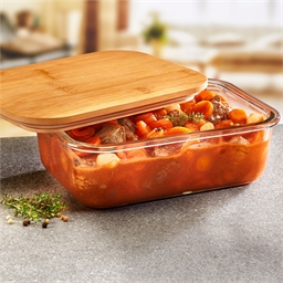 Set of 3 borosilicate and bamboo containers
