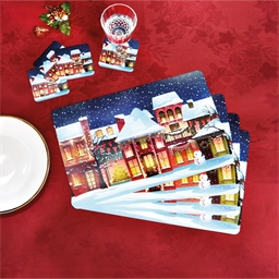 4 snowy Christmas tablemats and coasters