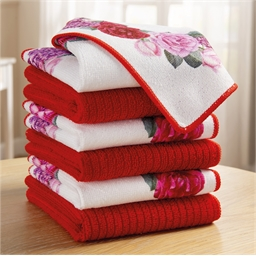 6 red floral kitchen towels