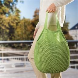 Groen boodschappennet met gevoerd katoen