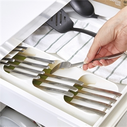 Space saving cutlery tray
